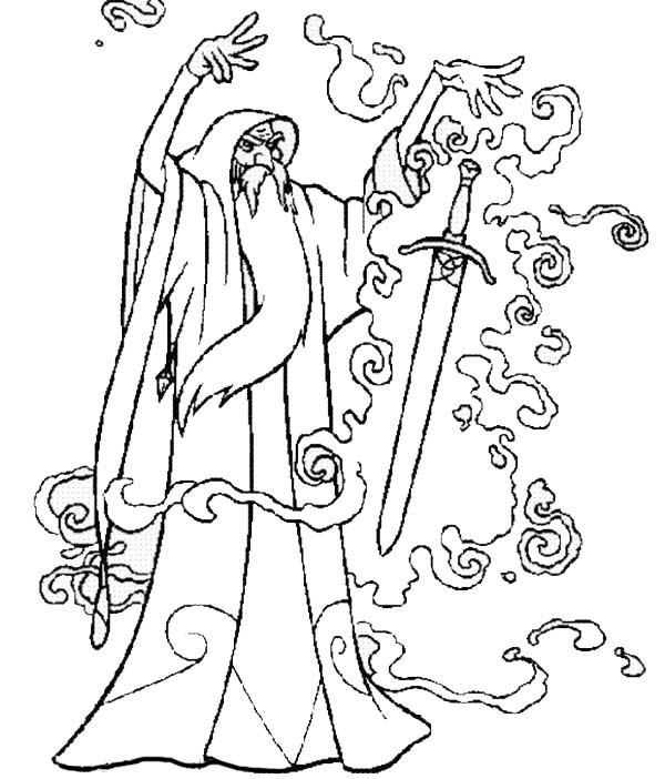 600x702 Merlin The Wizard Put A Magic Spell Into Sword Coloring Pages
