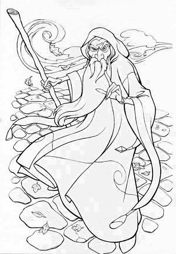 600x864 Merlin Wizard Coloring Pages For Kids