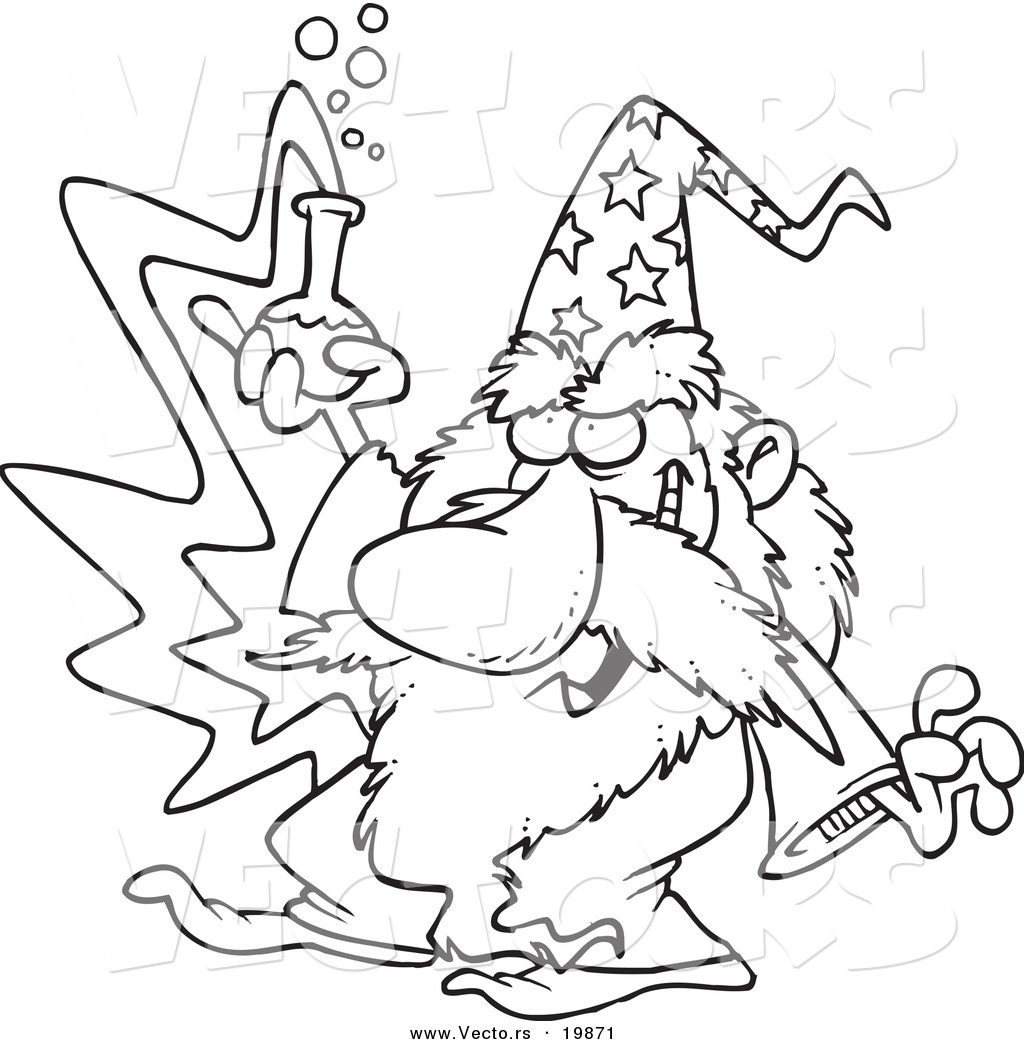 1024x1044 Vector Of A Cartoon Black And White Outline Design Of Merlin