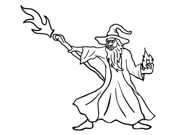 600x448 Wizard Coloring Page