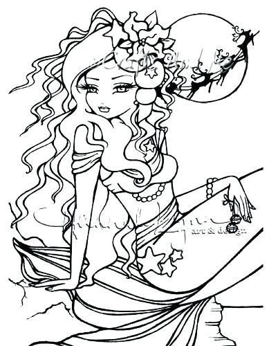 389x500 Adult Mermaid Coloring Page Adult Mermaid With Treasure Mermaid
