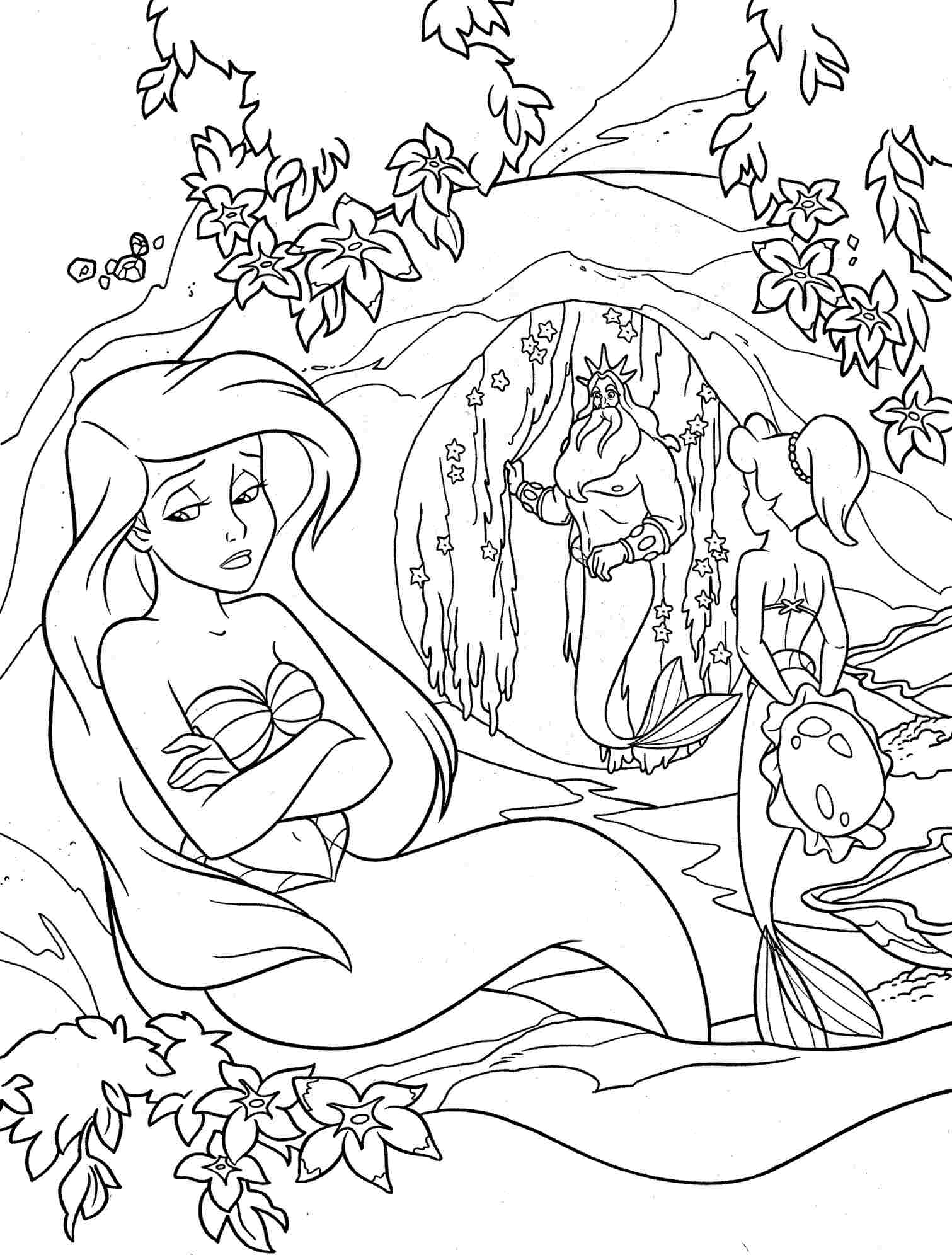 1511x2000 Little Mermaid Coloring Pages Disney With Little Mermaid