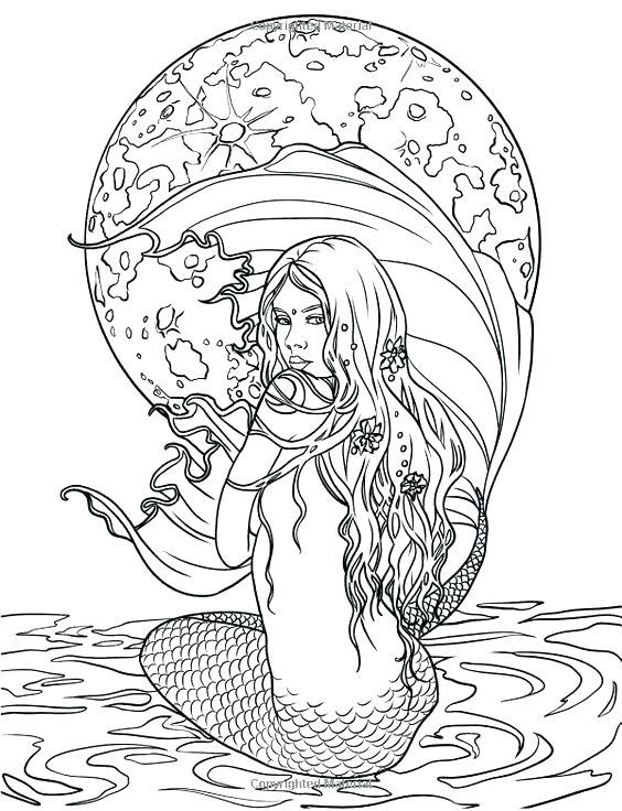 564x736 Mermaid Coloring Pages Realistic Vanda