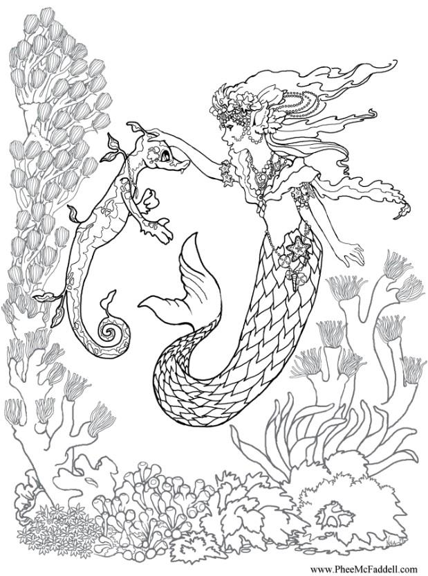 619x832 Detailed Mermaid Coloring Pages