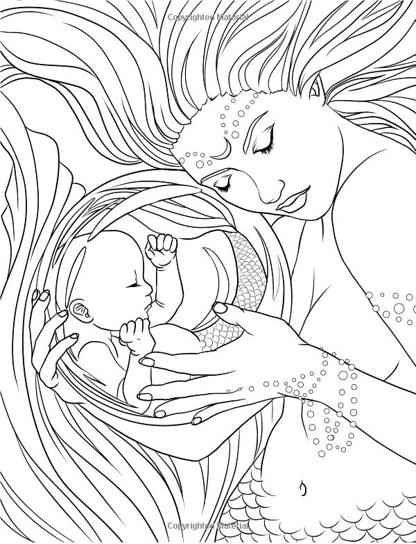 600x783 Mermaid Coloring Pages For Adults Free Coloring Pages Mermaids