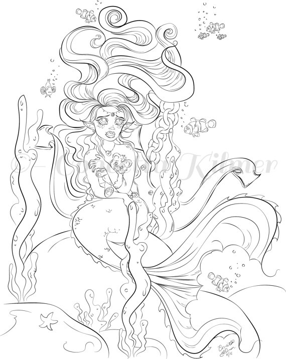 570x716 Mermaid Coloring Pages For Adults Collections Free Coloring