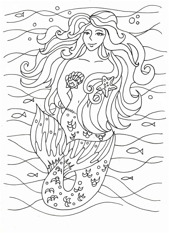 570x785 Mermaid Coloring Pages