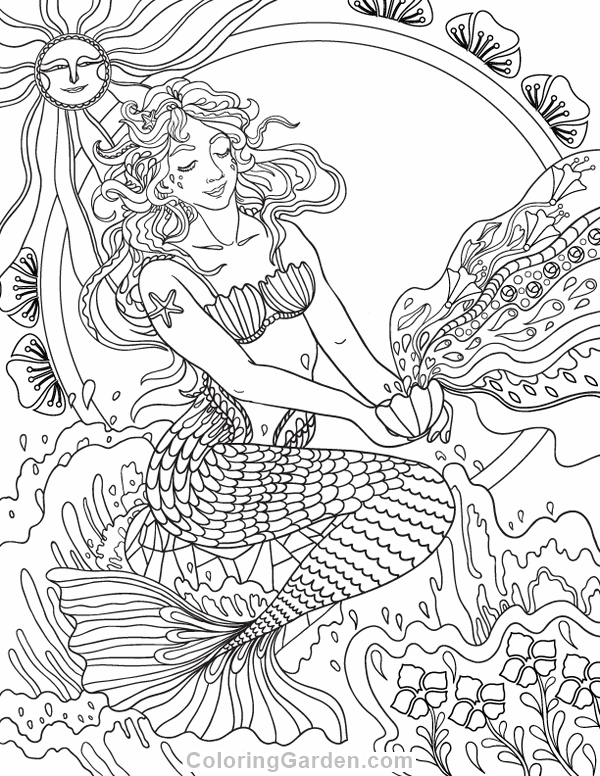 image regarding Free Printable Coloring Pages for Adults Mermaids named Mermaid Coloring Web pages Grownup at  Totally free for