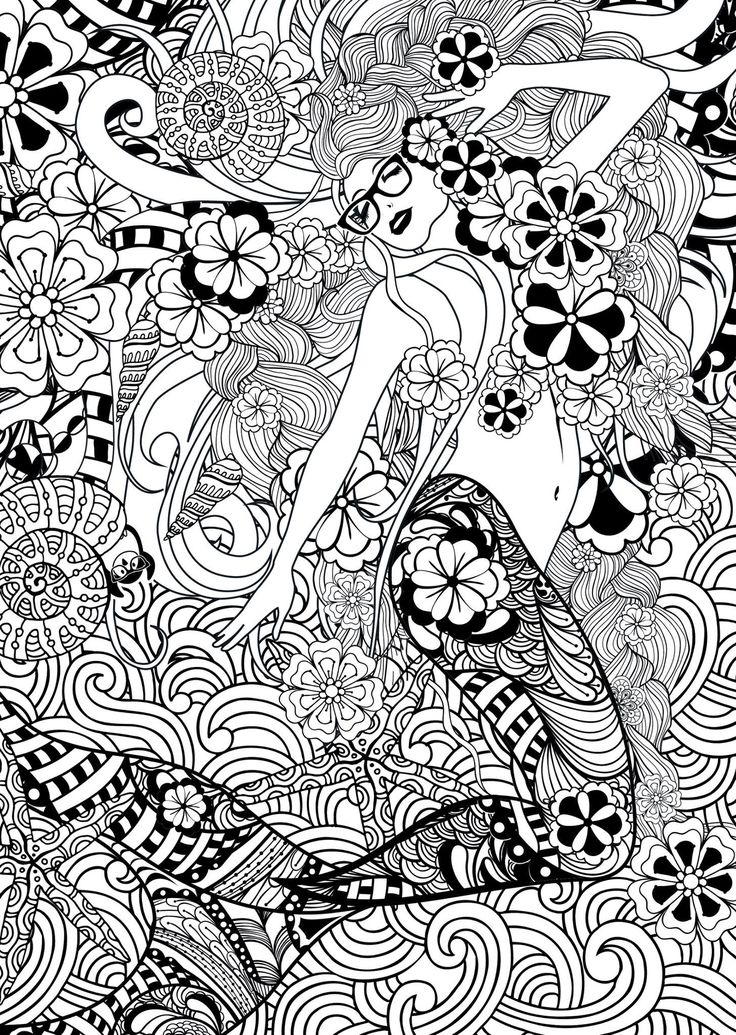 736x1035 Best Mermaid Coloring Pages For Adults Images