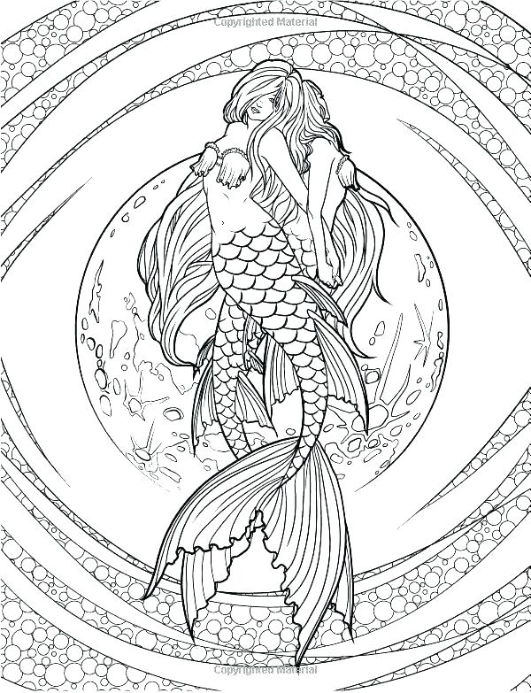 600x783 Mermaid Coloring Pages For Adults