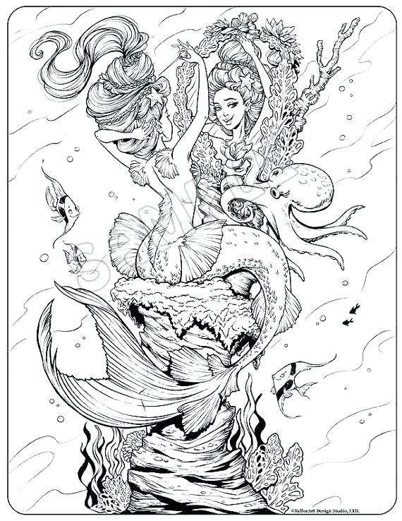 Mermaid Coloring Pages Adult at GetDrawings.com | Free for personal ...