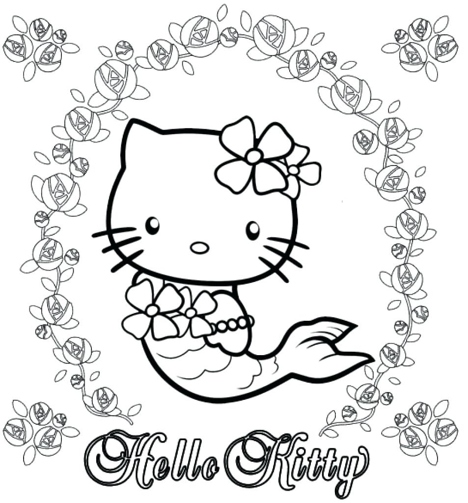 953x1024 Hello Kitty Mermaid Coloring Pages With Hello Kitty Mermaid