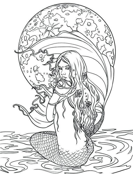 564x736 Simple Mermaid Coloring Pages For Adults