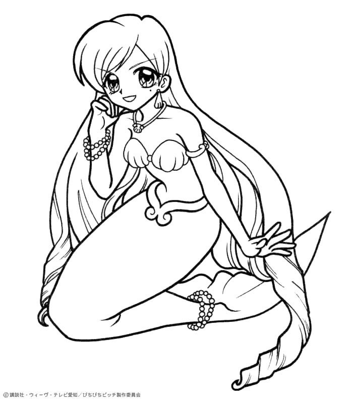 700x800 Anime Mermaid Coloring Pages