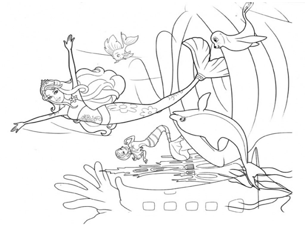 1024x768 Barbie Mermaid Coloring Pages