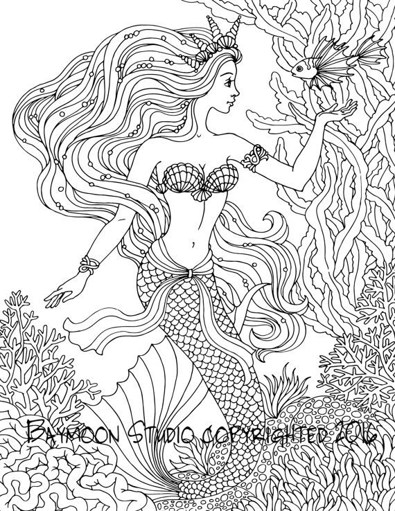 Mermaid Coloring Pages For Adults at GetDrawings.com | Free ...