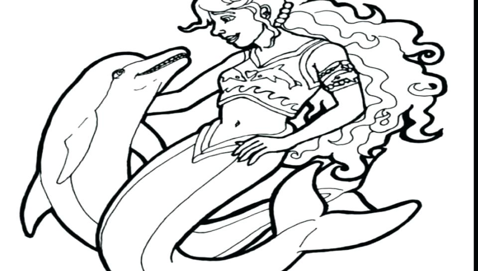960x544 Dolphin Coloring Pages Printable Dolphin With Mermaid Coloring