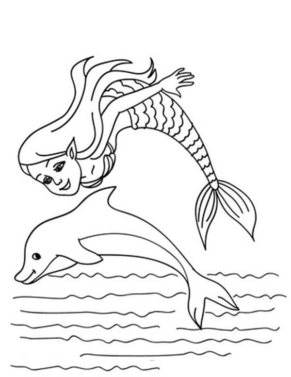 600x777 Little Mermaid Jumping With Dolphin New Mermaid And Dolphin