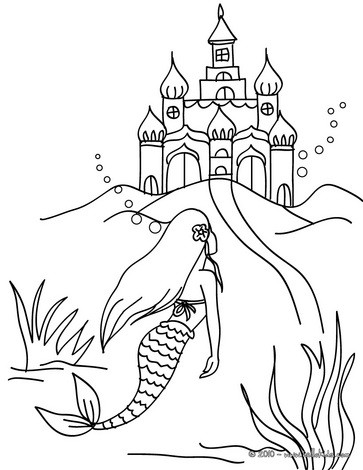 363x470 Mermaid With A Dolphin Coloring Pages