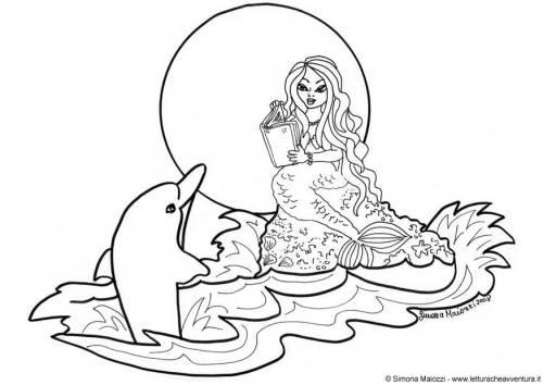 500x354 Mermaid And Dolphins Coloring Pages Hellokids Mermaid Dolphin