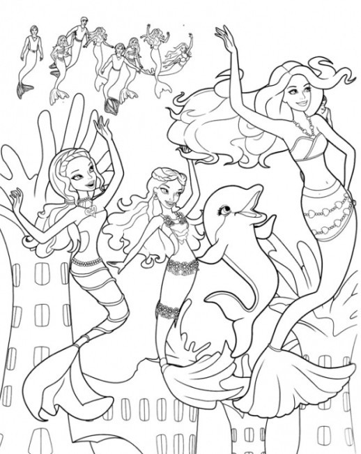 518x651 Free Coloring Pages Barbie Mermaid Girls Color