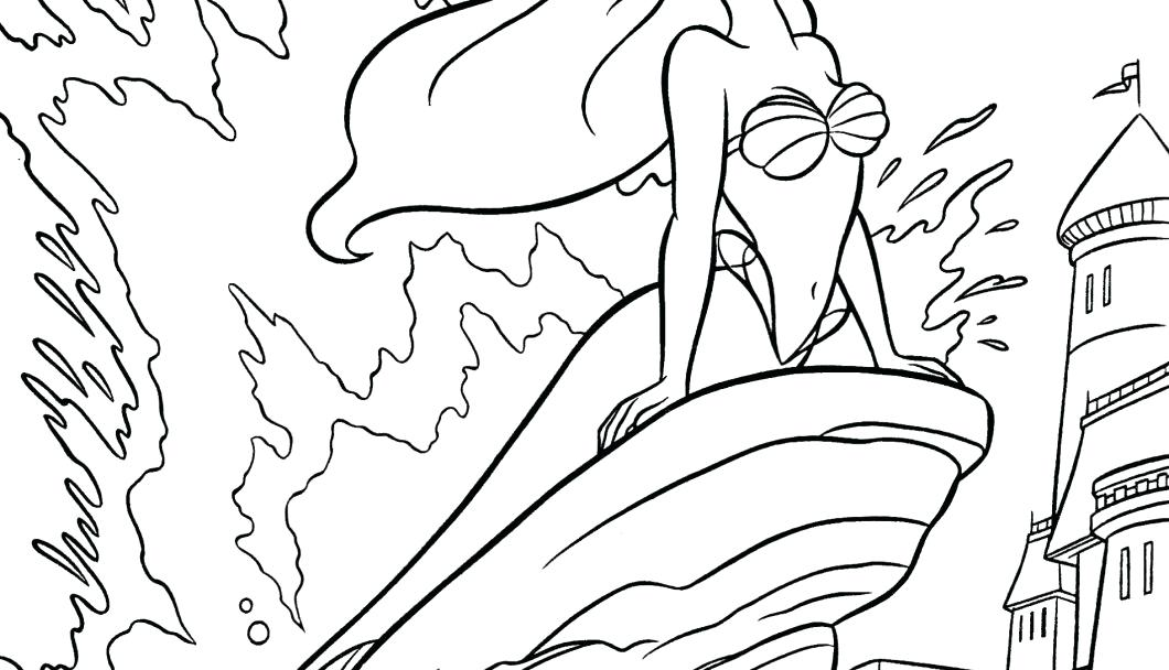 1060x608 Mermaid Girl Coloring Pages Little