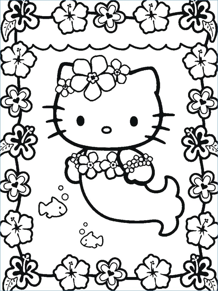728x974 Hello Kitty Cute Mermaid Coloring Pages