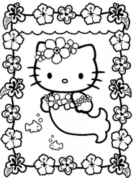 447x600 Hello Kitty Mermaid Coloring Pages Printables Hk
