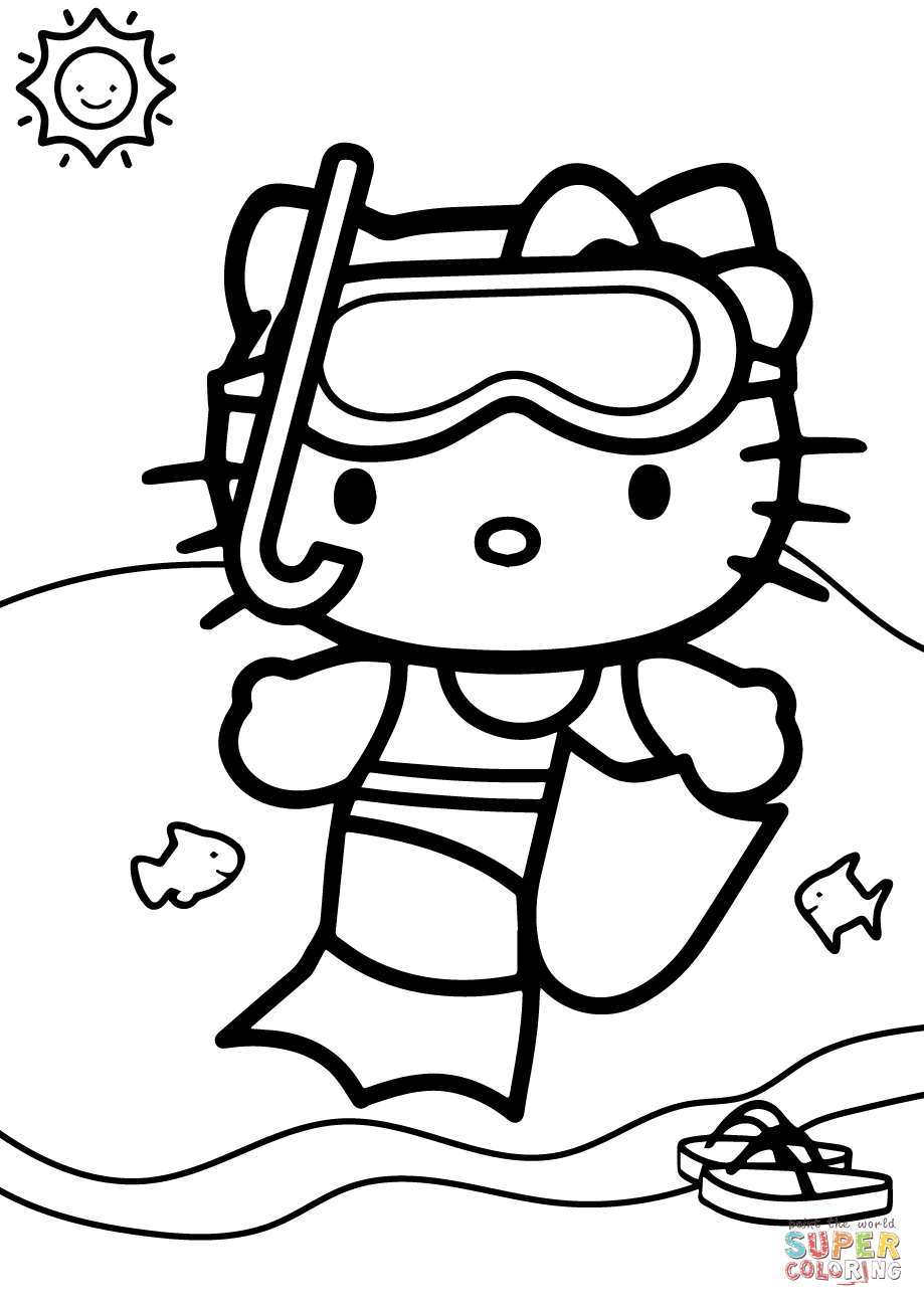 919x1300 Introducing Hello Kitty Coloring Pages Free Online Game Mermaid