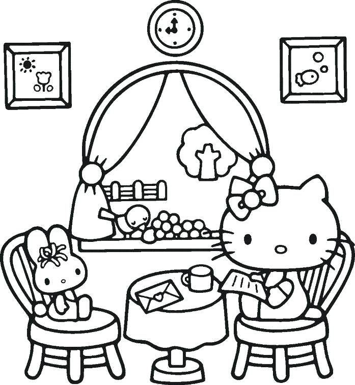 697x756 Cute Mermaid Coloring Pages Hello Kitty Reading Mail Coloring Page