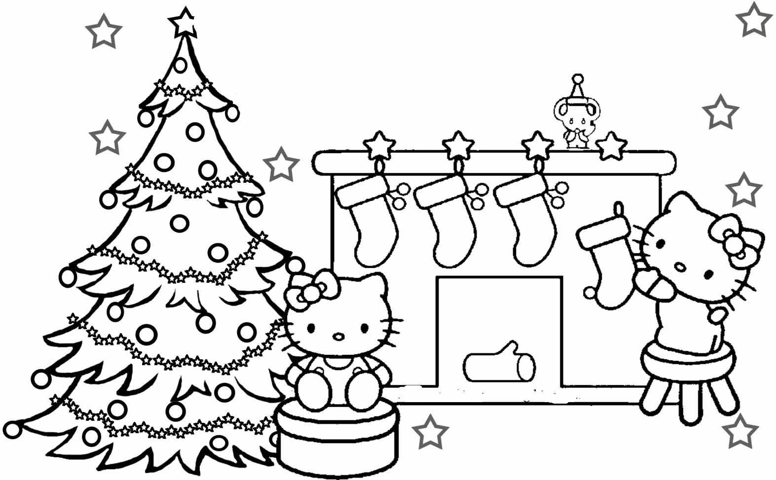 1573x974 Hello Kitty Merry Christmas Coloring Pages