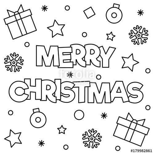 500x500 Merry Christmas Coloring Page Vector Illustration Stock Image