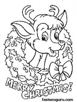 254x338 Printable Coloring Pages Of Merry Christmas Reindeer Baby Face