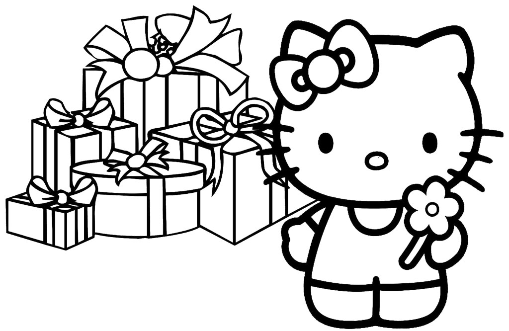 1024x666 Hello Kitty Christmas Coloring Pages Free Print