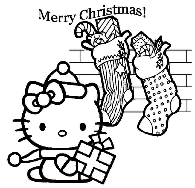 400x386 Christmas Coloring Pages Printable Hello Kitty Christmas