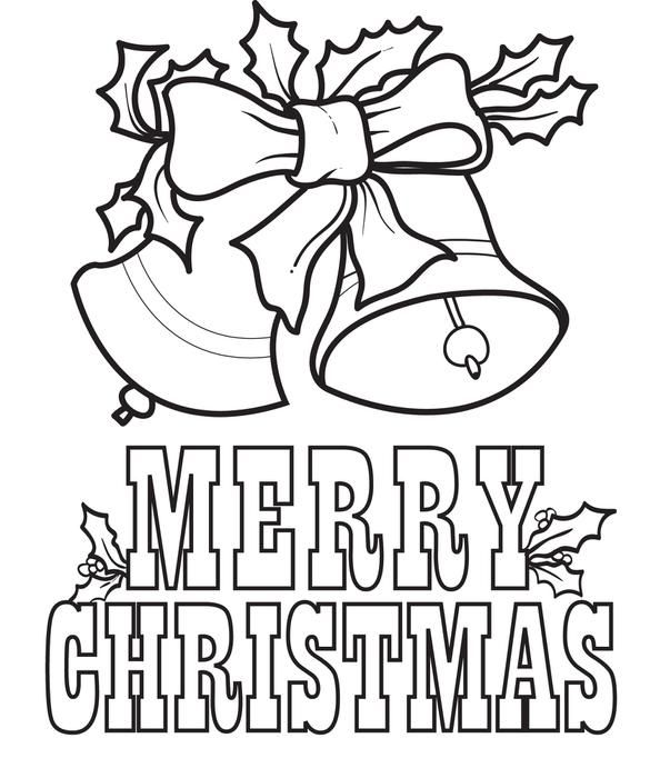 594x700 Free Printable Merry Christmas Bells Coloring Page For Kids