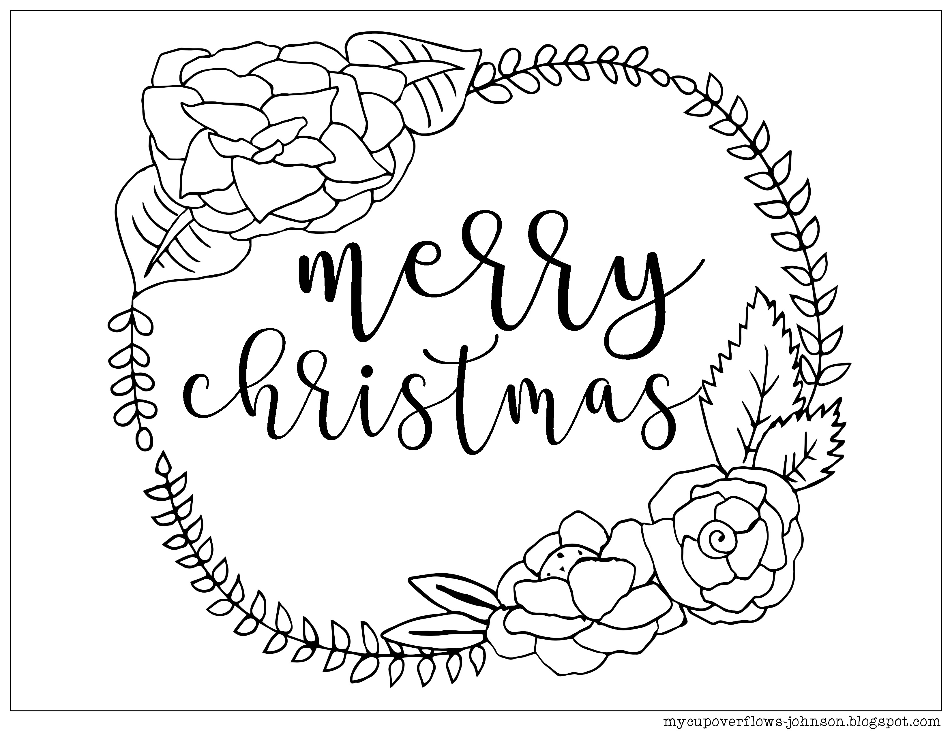 3300x2550 Awesome Merry Christmas Coloring Page With Wreath Free Coloring