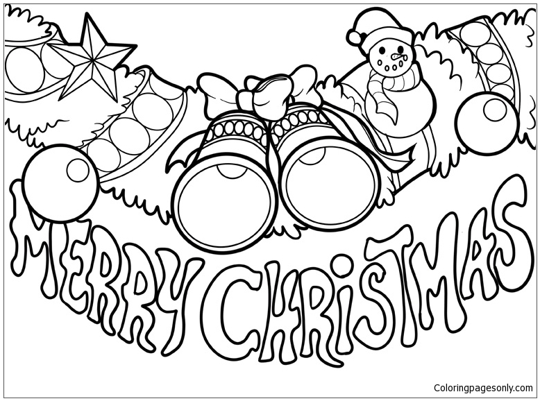 778x578 Christmas Decoration And The Text Merry Christmas Coloring Page