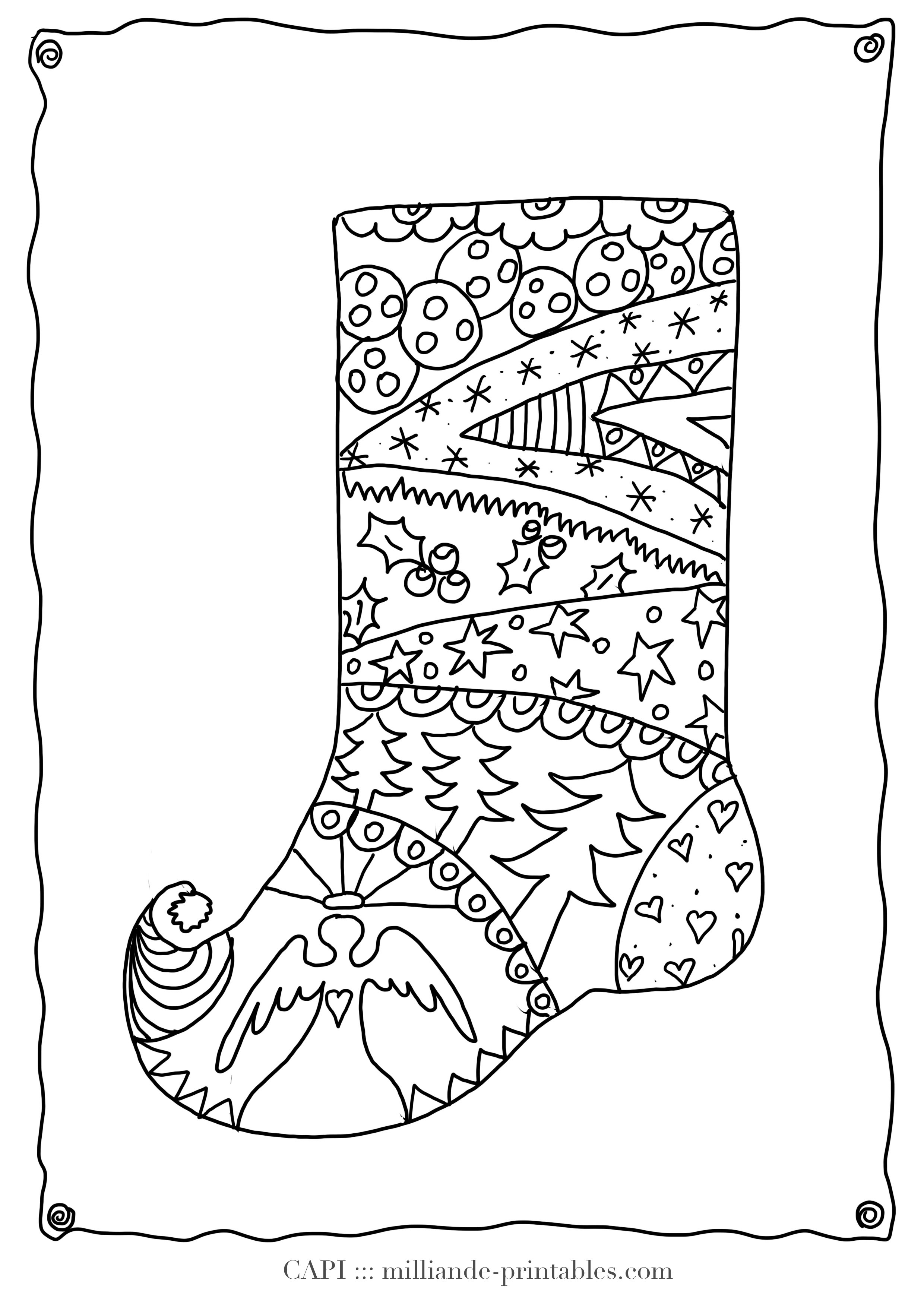 2480x3508 Christmas Stocking Coloring Pages Free