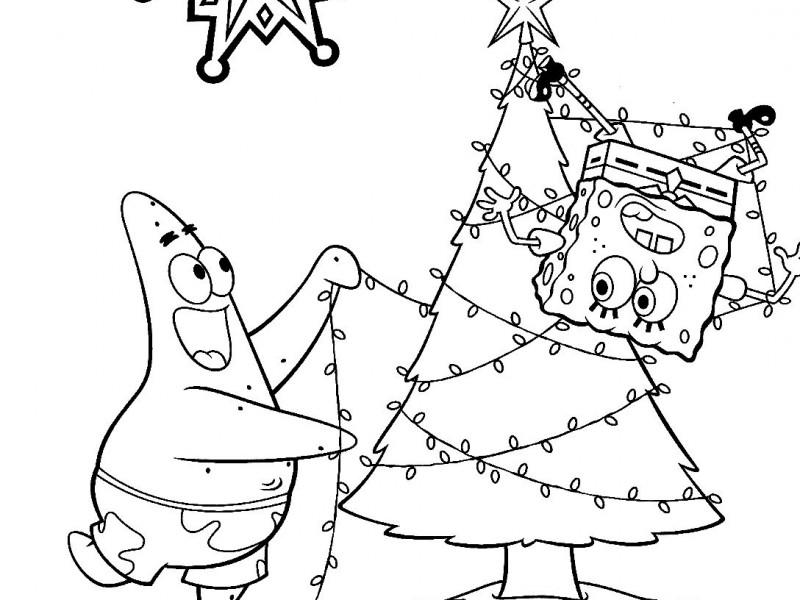 800x600 Spongebob Christmas Coloring Pages Spongebob Happy Merry Christmas