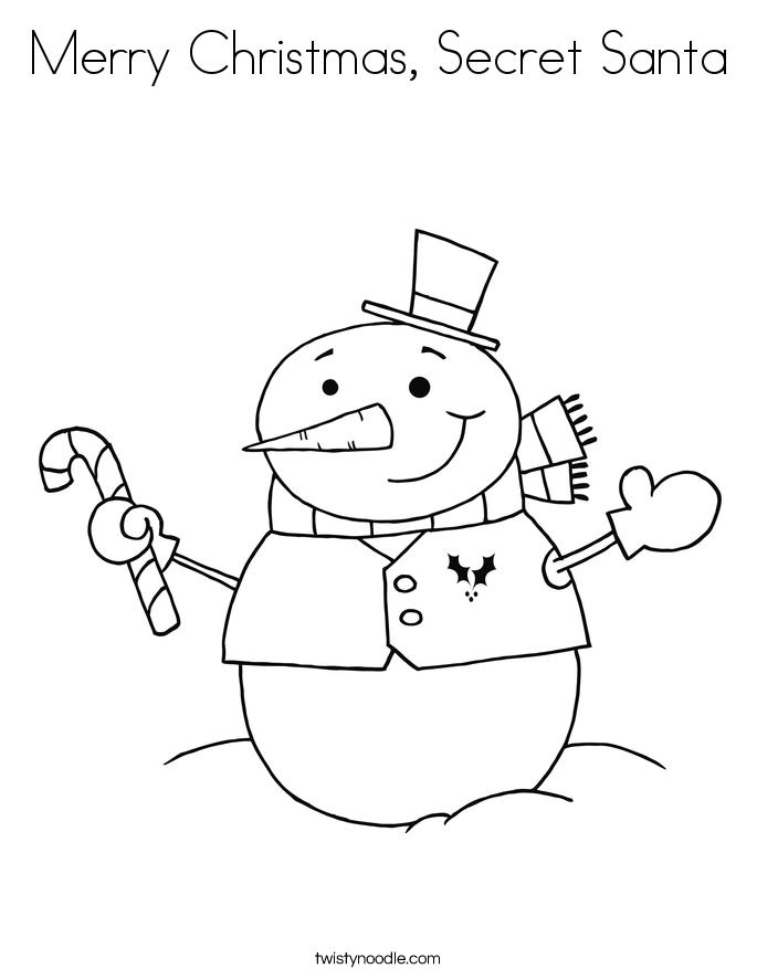 685x886 Merry Christmas, Secret Santa Coloring Page