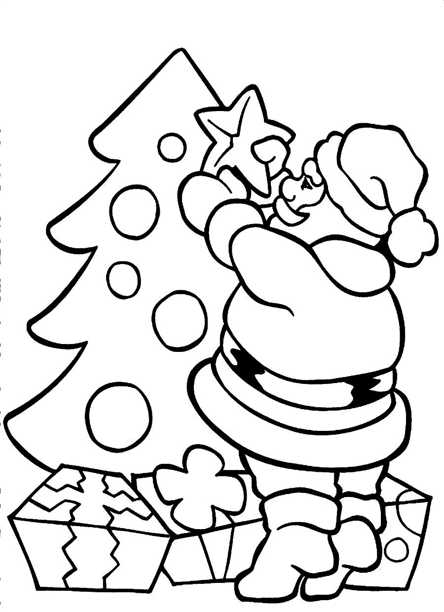 900x1240 Santa Coloring Pages For Kids Claus Throughout