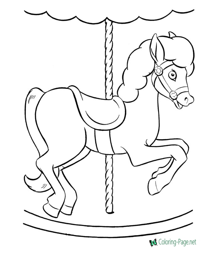 670x820 Coloring Pages Merry Go Round Pony
