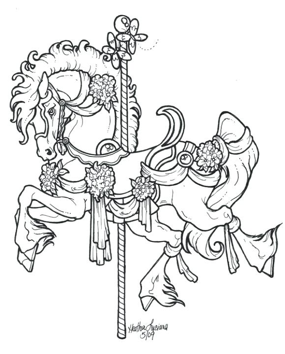 580x720 Horse Coloring Pages For Adults With Carousel Horse Merry Go Round