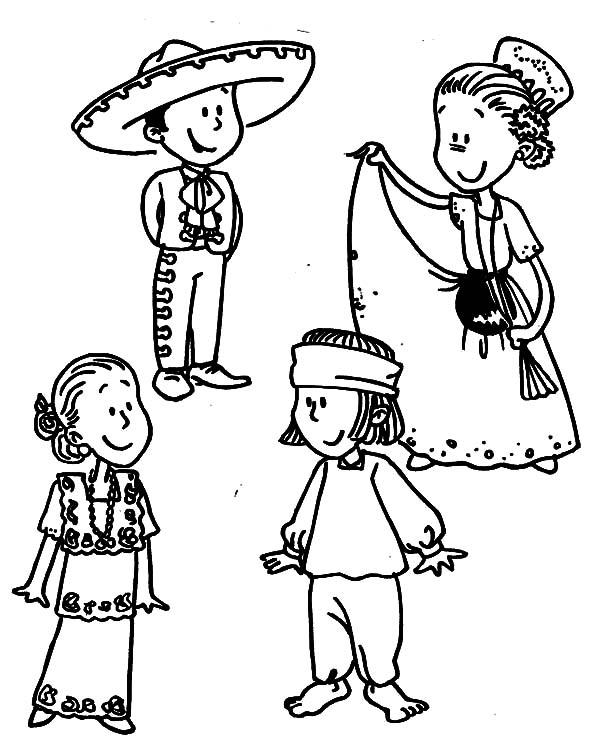 600x748 Mexican Dress Parade Coloring Pages Color Luna