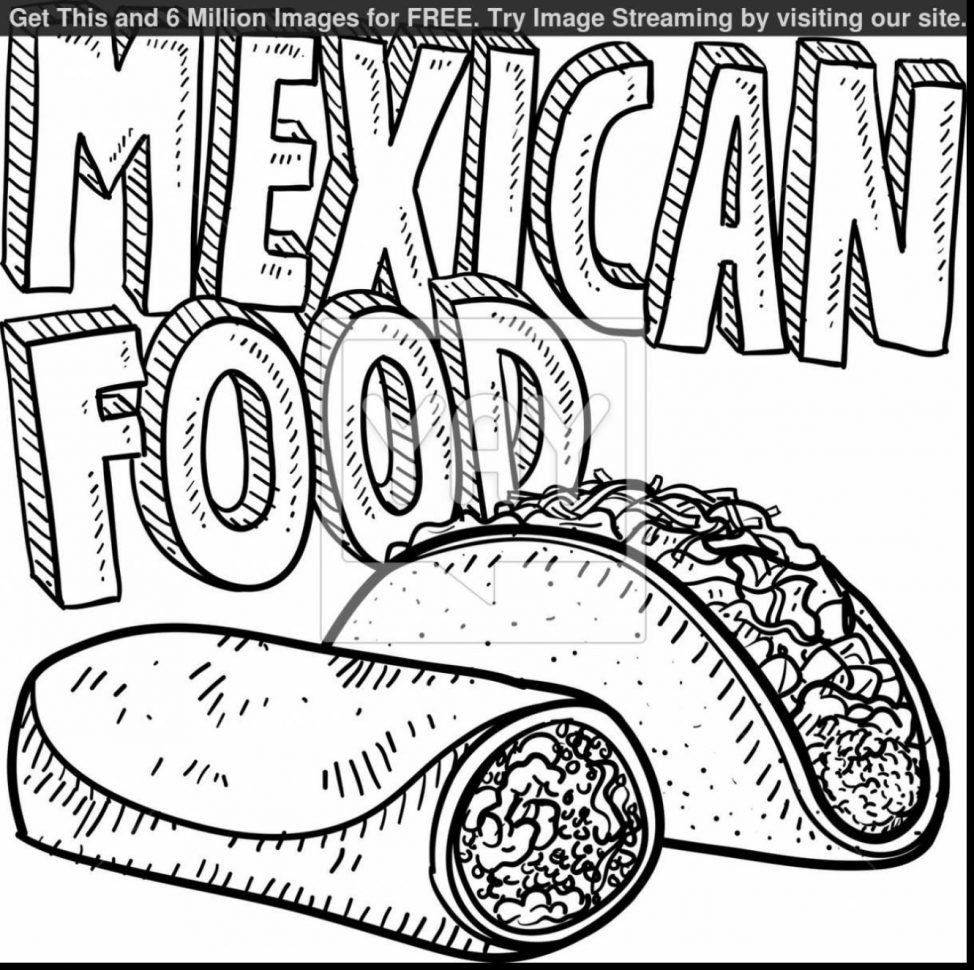 974x970 Mexican Food Coloring Pages