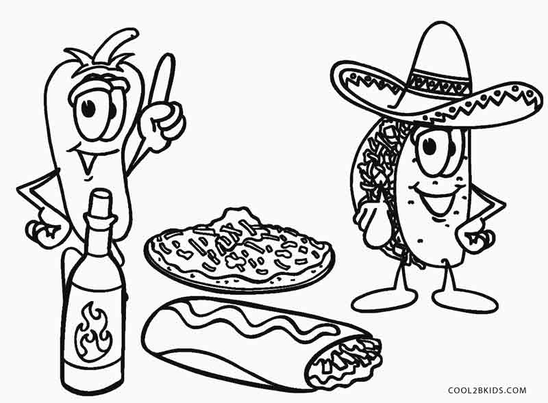 Mexican Food Coloring Pages At Getdrawings Com Free For Personal