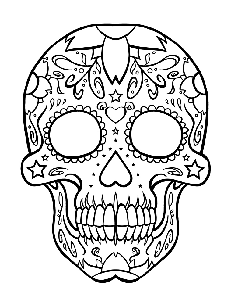 Mexican Skull Coloring Pages At Getdrawings Com Free For Personal