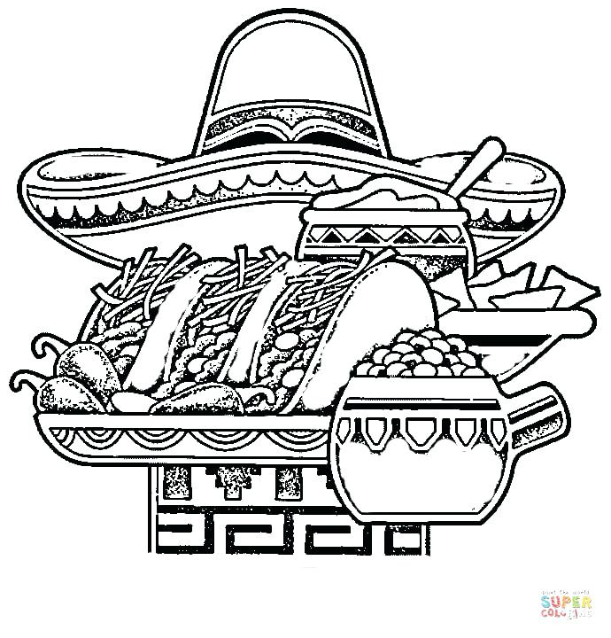 690x720 Mexico Coloring Pages Free Coloring Pages Mexican National Food