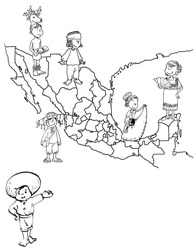 628x800 Pinto Dibujos Mapa De Macxico Con Sus Trajes Ta Picos Para